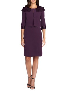 TAHARI ARTHUR S. LEVINE Solid Three-Quarter Sleeve Jacket & Sheath Dress Set