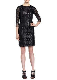 Tahari 3/4-Sleeve Camille Dress w/Mesh Overlay