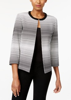 Tahari Asl Beaded Open-Front Jacquard Jacket