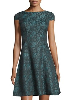 Tahari ASL Cap-Sleeve Lace-Print Jacquard Dress