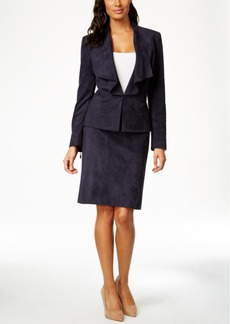 Tahari Asl Draped Faux-Suede Jacket