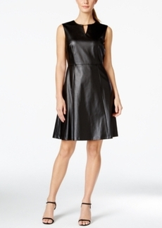 Tahari Asl Fit & Flare Faux-Leather Dress