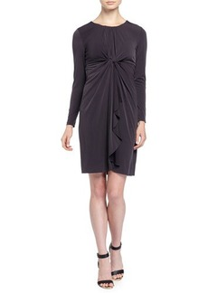 Tahari Lilia Long-Sleeve Dress w/Center Knot