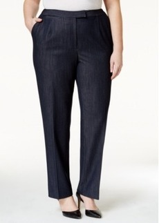 Tahari Asl Plus Size Straight-Leg Chambray Pants