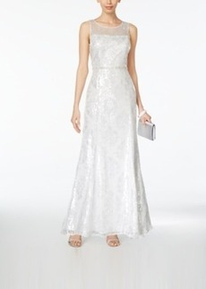 Tahari Asl Sequined Illusion Gown