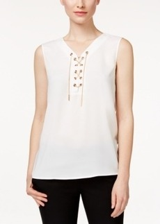 Tahari Asl Sleeveless Chain-Link Lace-Up Blouse