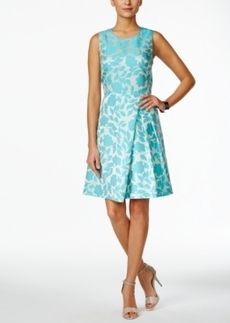 Tahari Asl Sleeveless Floral-Print A-Line Dress