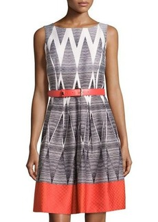 Tahari ASL Sleeveless Jacquard Belted Dress