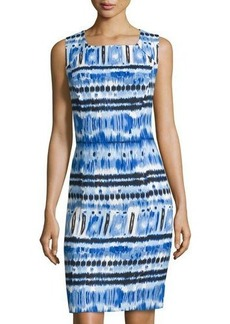 Tahari ASL Sleeveless Printed Linen-Blend Dress
