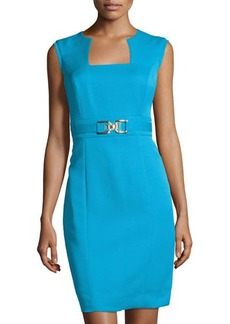 Tahari ASL Square-Neck Sheath Dress W/Metallic Buckle