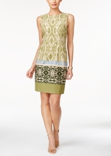 Tahari Asl V-Back Mixed-Print Sheath Dress