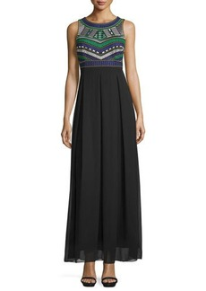Tahari Brasi Embroidered Cutout-Back Maxi Dress