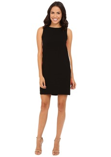 Tahari by ASL Crepe Shift Dress w/ Printed Side Panels and V-Back