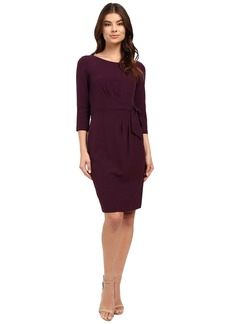 Tahari by ASL Crepe Side-Tie 3/4 Sleeve Sheath