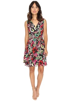 Tahari by ASL Faux Wrap Printed Chiffon Dress