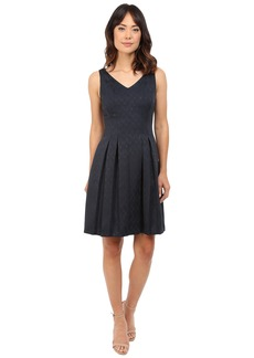 Tahari by ASL Sleeveless Jacquard V-Neck Dress w/ Pleated Skirt
