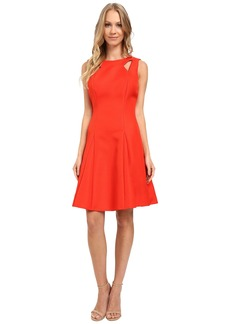 Tahari by ASL Textured Jacquard Fit and Flare Dress w/ Cut Outs