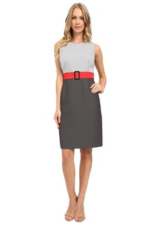 Tahari by ASL Two-Tone Plaid Fit and Flare Dress w/ Statement Belt
