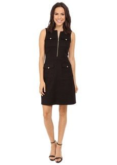 Tahari by ASL Zip-Front A-Line Sleeveless Dress w/ Pockets