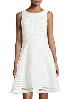 Tahari Eliza Sleeveless Mesh Fit-and-Flare Dress