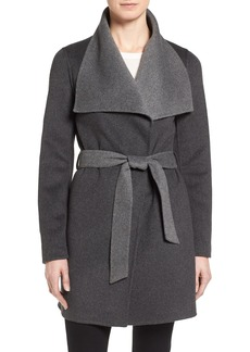 Tahari 'Ella' Belted Two-Tone Wool Blend Wrap Coat (Regular & Petite)