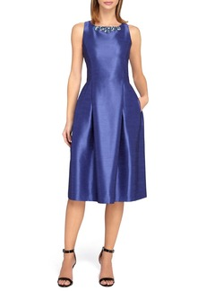 Tahari Embellished Shantung Fit & Flare Midi Dress (Regular & Petite)