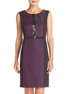 Tahari Front Zip Colorblock Sleeveless Sheath Dress (Online Only)