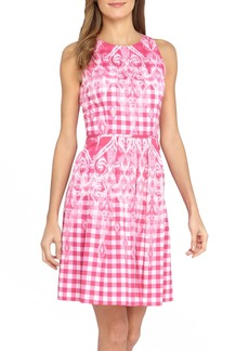 Tahari Gingham Print Fit & Flare Dress (Regular & Petite)