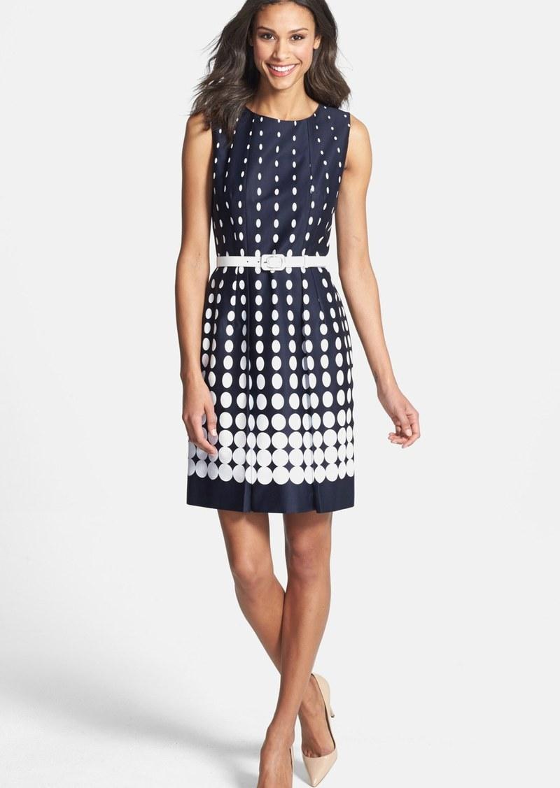 Tahari Gradient Dot Print Stretch Cotton Dress (Petite)