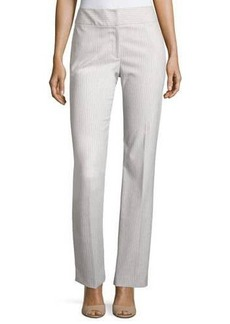 Tahari Petra Striped Flat-Waist Pants