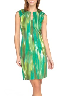Tahari Print Notch Neck Sheath Dress (Petite)