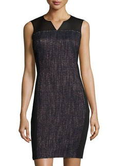 Tahari Tweed Mesh-Yoke Sleeveless Dress