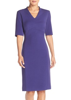 Tahari V-Neck Woven Sheath Dress (Regular & Petite) (Online Only)