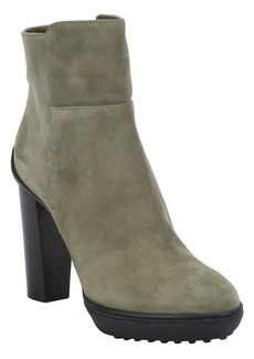 Tod's army green suede platform ankle ...