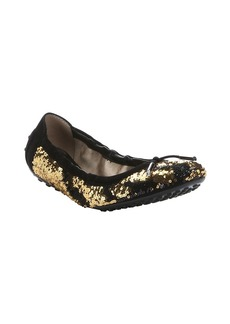 Tod's black and gold sequined ballerin...