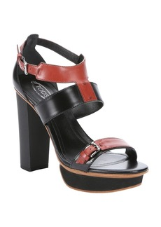 Tod's black and red leather strappy pl...