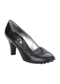 Tod's black leather loafer pumps