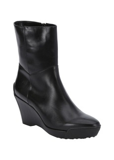 Tod's black leather wedge ankle boots