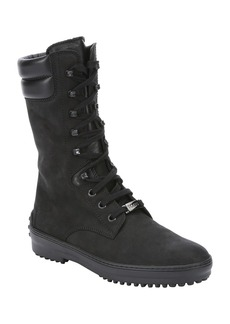 Tod's black nubuck lace-up combat boots