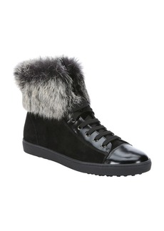 Tod's black suede and rabbit fur high-...