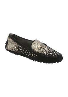 Tod's black suede bead embellished dri...