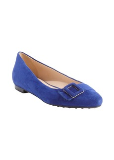 Tod's blue suede pointed toe buckle de...