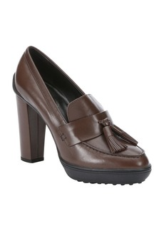 Tod's brown leather double tassel plat...