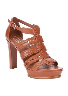 Tod's brown perforated leather strappy...
