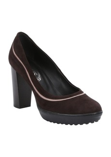Tod's brown suede platform pumps