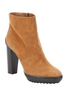 Tod's camel suede platform ankle booties