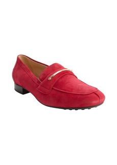 Tod's cherry red suede penny strap loa...
