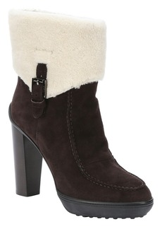 Tod's chocolate suede and shearling an...