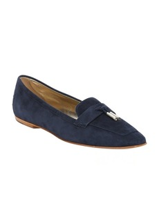 Tod's dark blue suede tassel tie loafers