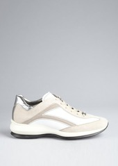 Tod's grey and white leather-suede strapped wedge sneakers
